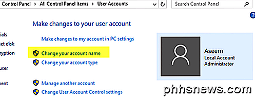 Cambia computer e nome utente, immagine e password in Windows 7, 8, 10