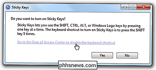 Inaktivera popupdialogerna Irritating Sticky / Filter Keys
