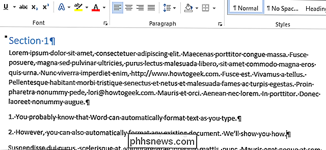 Come formattare automaticamente un documento esistente in Word 2013