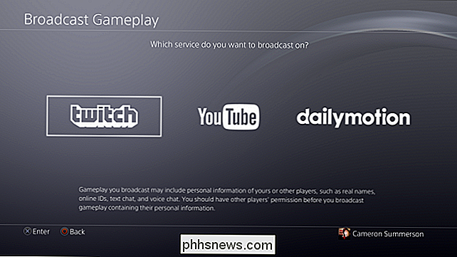 Hoe u uw PlayStation 4-gamesessie uitzendt op Twitch, YouTube of Dailymotion