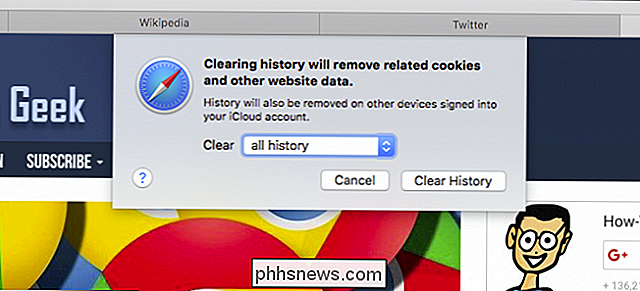 De browsegeschiedenis en cookies van Safari wissen in OS X