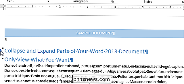 Come comprimere ed espandere parti del documento in Word
