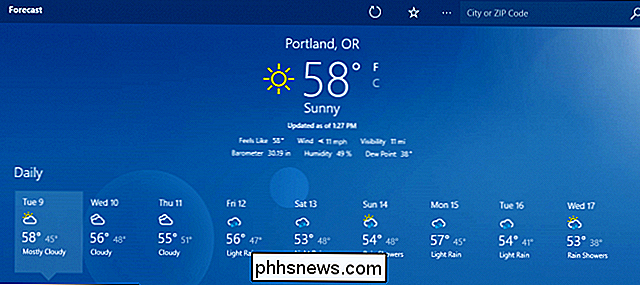 Så här konfigurerar du Windows 10 Weather App
