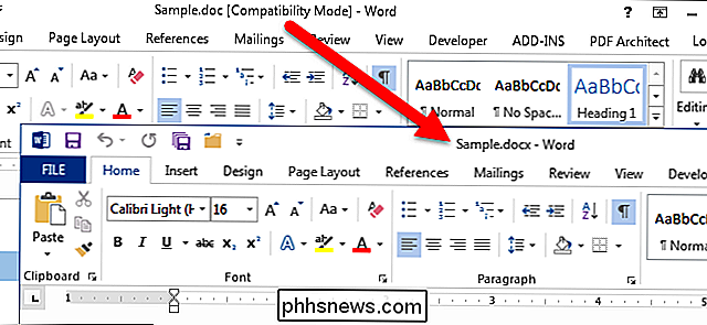 Conversion de documents plus anciens en Word 2013