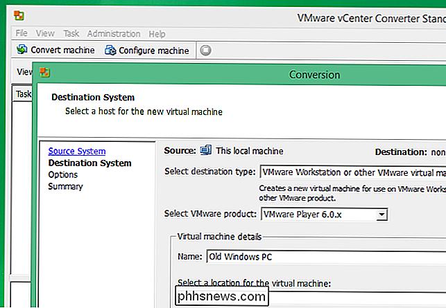 Como converter um PC físico Windows ou Linux em uma máquina