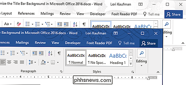 Anpassen des Titelleisten-Designs in Microsoft Office 2016