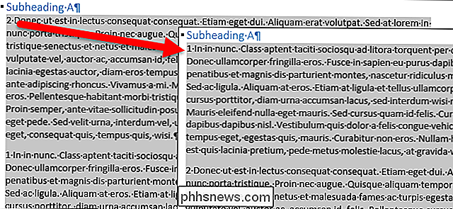 Come modificare facilmente l'ordine dei paragrafi in un documento Word