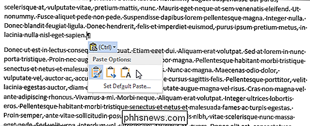 Hoe kom je te vervallen van de Paste Options Box in Word 2013