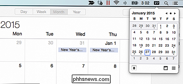 Comment obtenir un calendrier contextuel semblable à Windows sous OS X