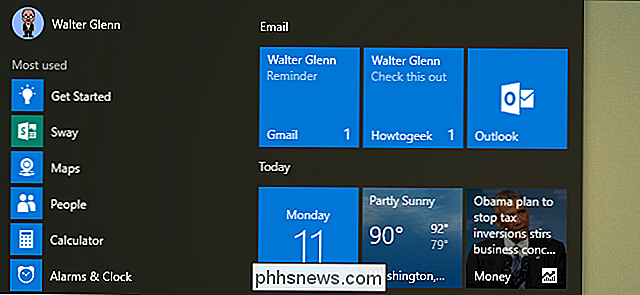 Slik lager du Live Tiles på Start-menyen for hver konto i Windows 10 Mail