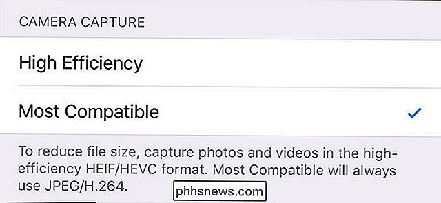Come fare l'iPhone Usa file JPG e MP4 Invece di HEIF, HEIC e HEVC