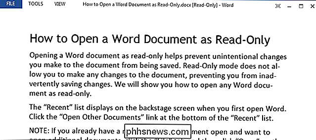 Come aprire un documento di Word in sola lettura