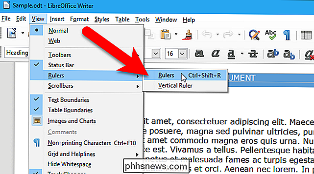Como mostrar e ocultar as réguas no LibreOffice Writer - pt
