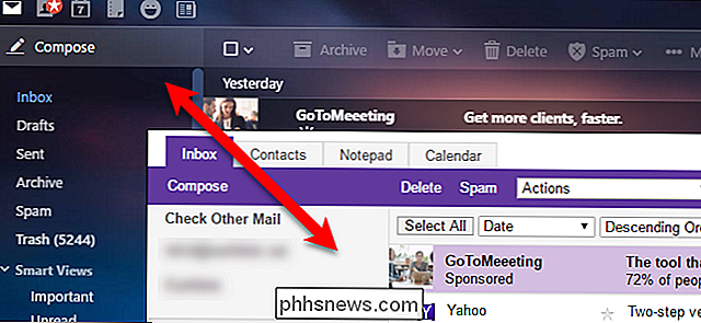 Como alternar entre as versões completa e básica do Yahoo Mail