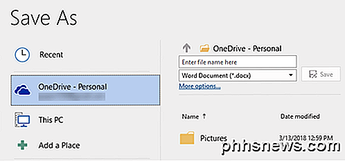Salva i file di MS Office sul PC locale invece di OneDrive