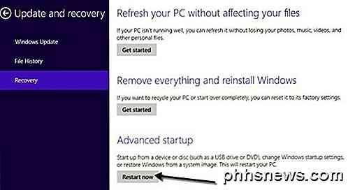 Så här startar du till Windows 8 Systemåterställningsalternativ - sv